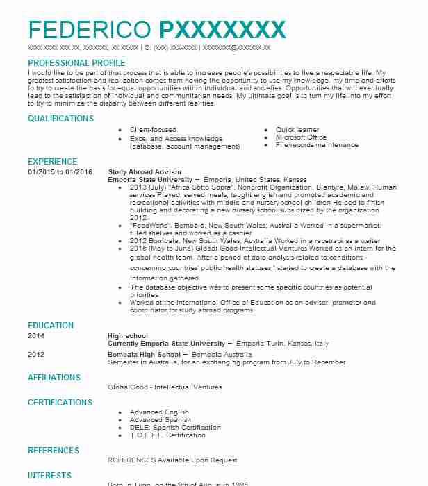 study abroad advisor resume example resumes livecareer skills for waitress on mta service Resume Resume Study Abroad Example