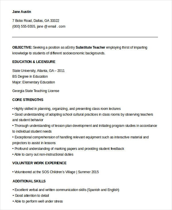 substitute teacher resume templates pdf free premium objective entry level clinical Resume Entry Level Teacher Resume Objective
