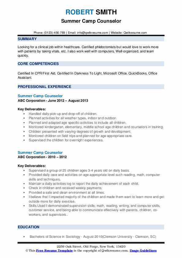 summer counselor resume samples qwikresume for job pdf spring microservices identity and Resume Resume For Summer Camp Job