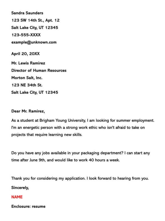 summer job cover letter example writing tips resume for applicants part time marseille Resume Resume For Summer Job Applicants