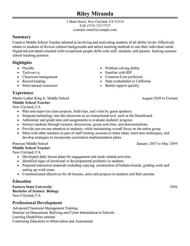 summer teacher resume examples created by pros myperfectresume sample for teaching Resume Sample Resume For Teaching Position