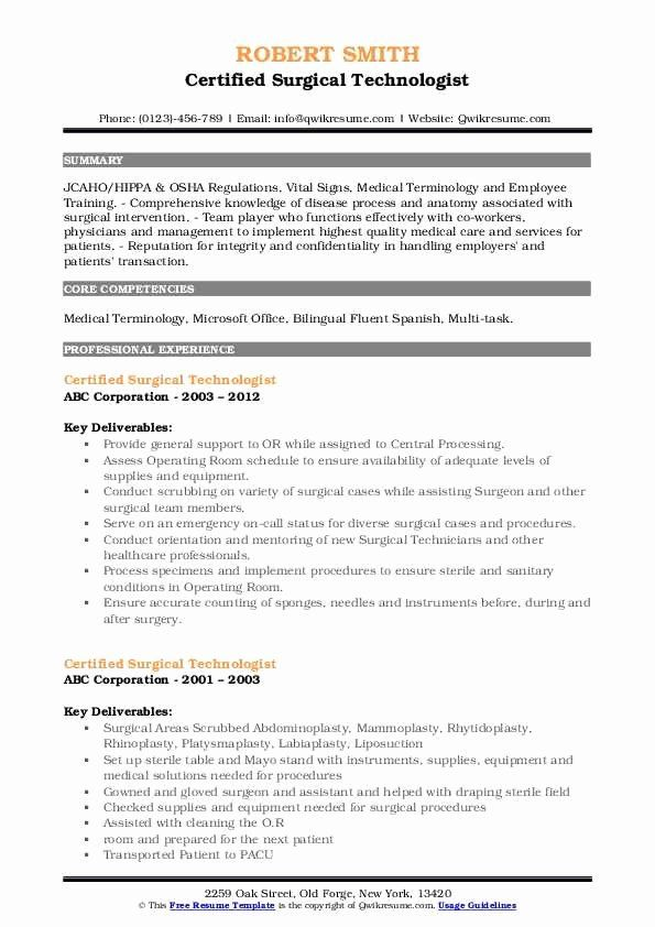surgical tech resume examples beautiful certified technologist samples skills job free Resume Free Surgical Technologist Resume Templates