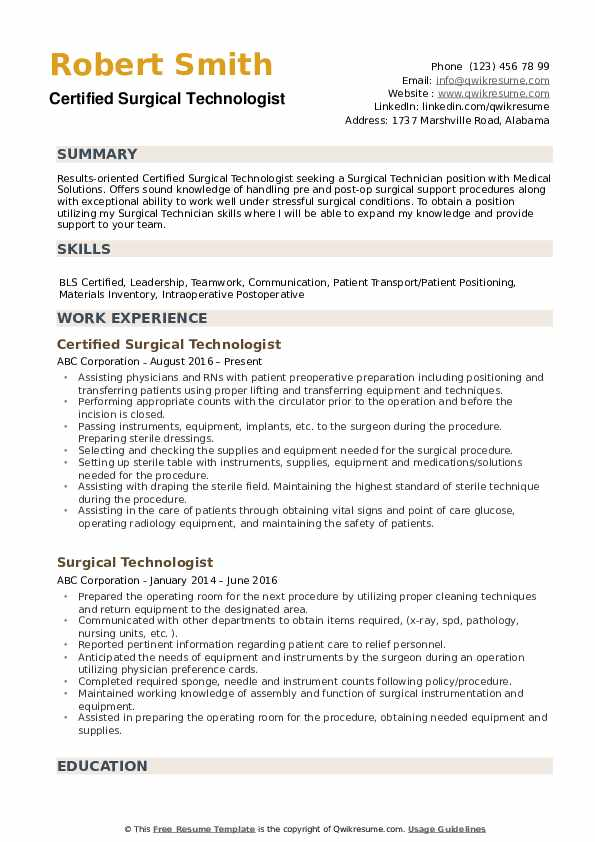 surgical technologist resume samples qwikresume free templates pdf for experienced Resume Free Surgical Technologist Resume Templates