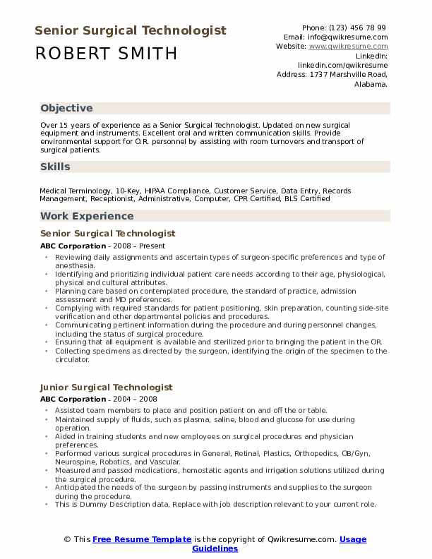 surgical technologist resume samples qwikresume free templates pdf sap bods consultant Resume Free Surgical Technologist Resume Templates
