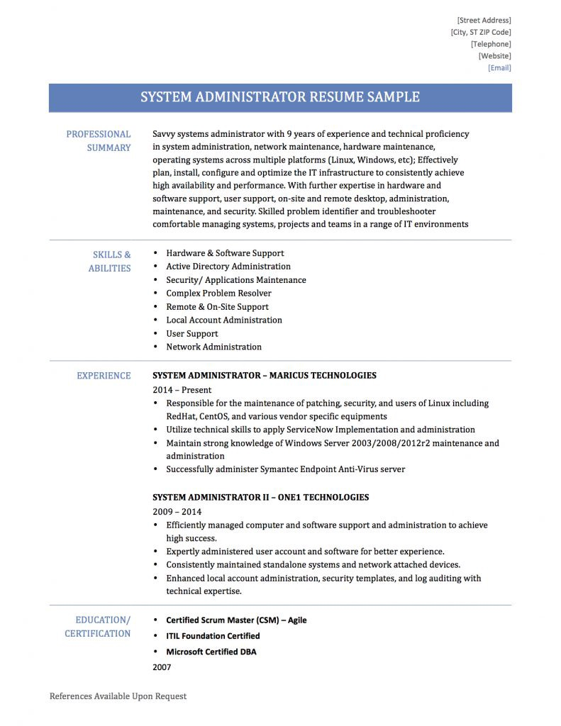system administrator resume samplestemplates and tips by builders medium linux year Resume Linux Administrator Resume 4 Year Experience