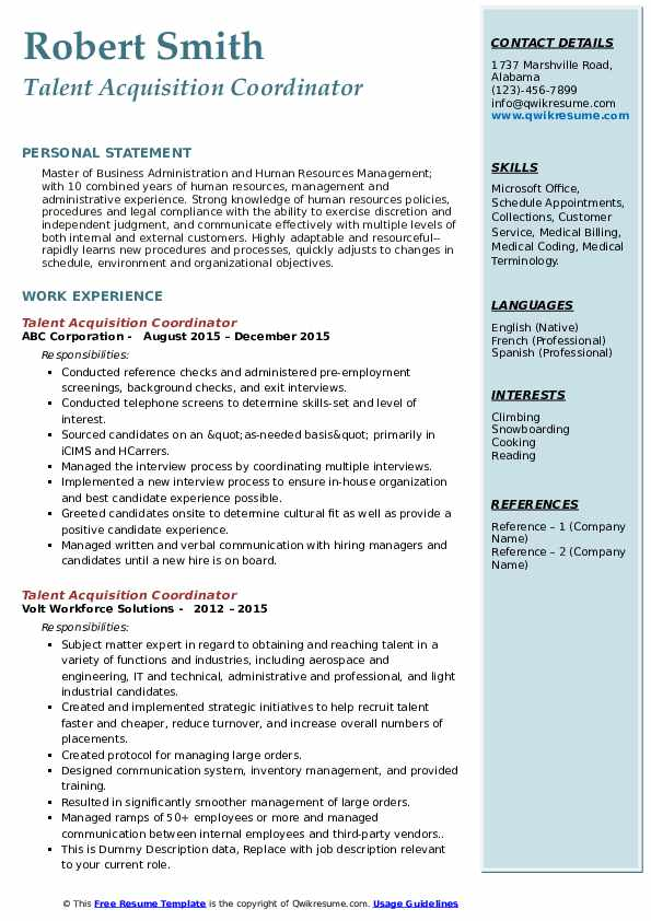 talent acquisition coordinator resume samples qwikresume workday template pdf sample Resume Workday Resume Template
