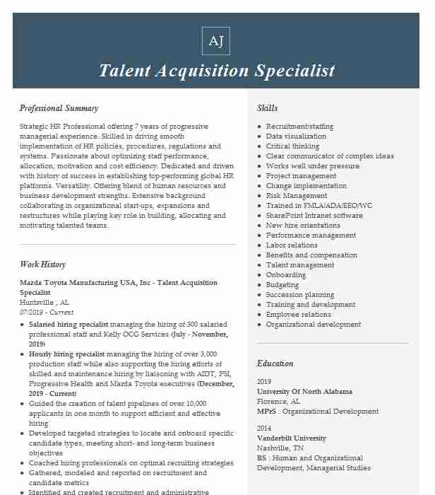 talent acquisition specialist resume example livecareer sample high school examples for Resume Talent Management Specialist Resume