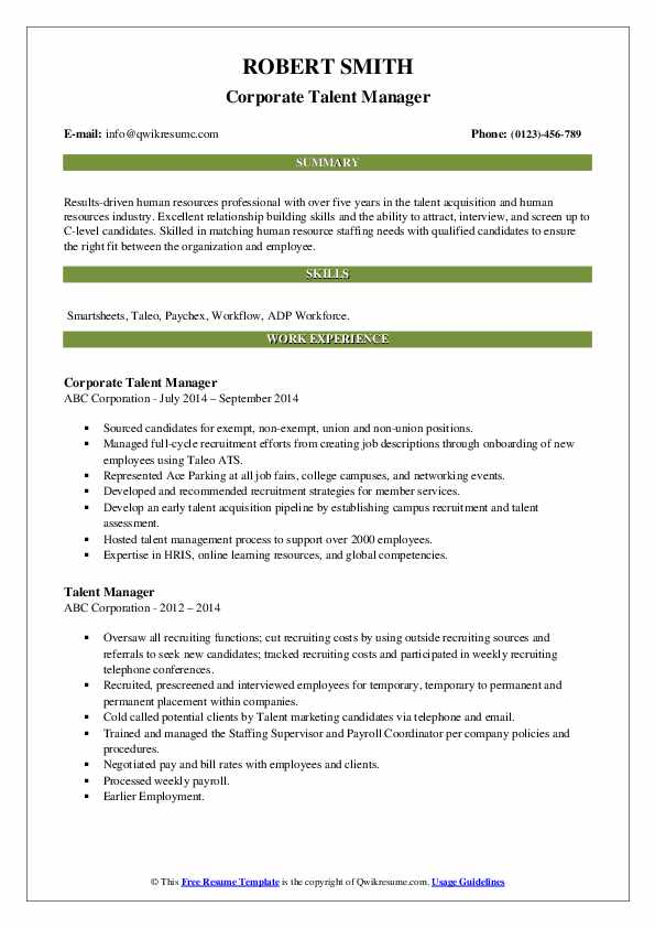 talent manager resume samples qwikresume management specialist pdf functional for Resume Talent Management Specialist Resume