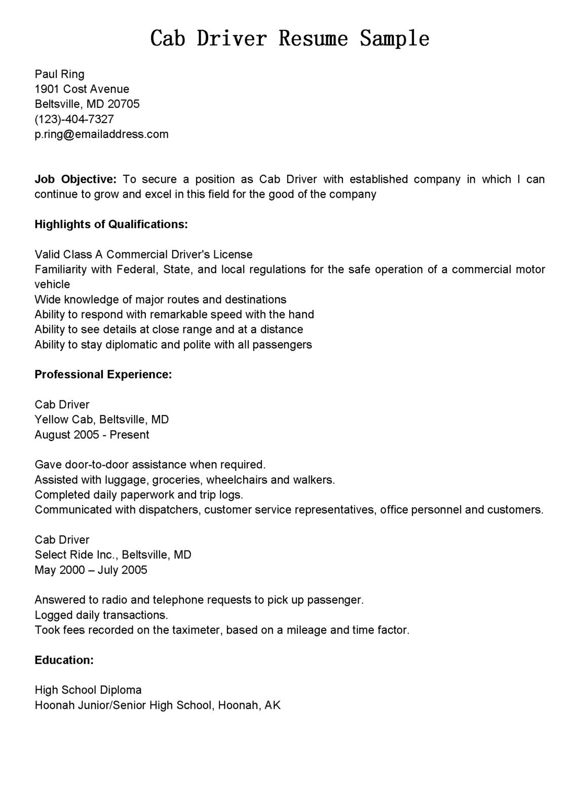 taxi driver resume sample resumesdesign job for office manager objective aerospace Resume Resume For Driver Job