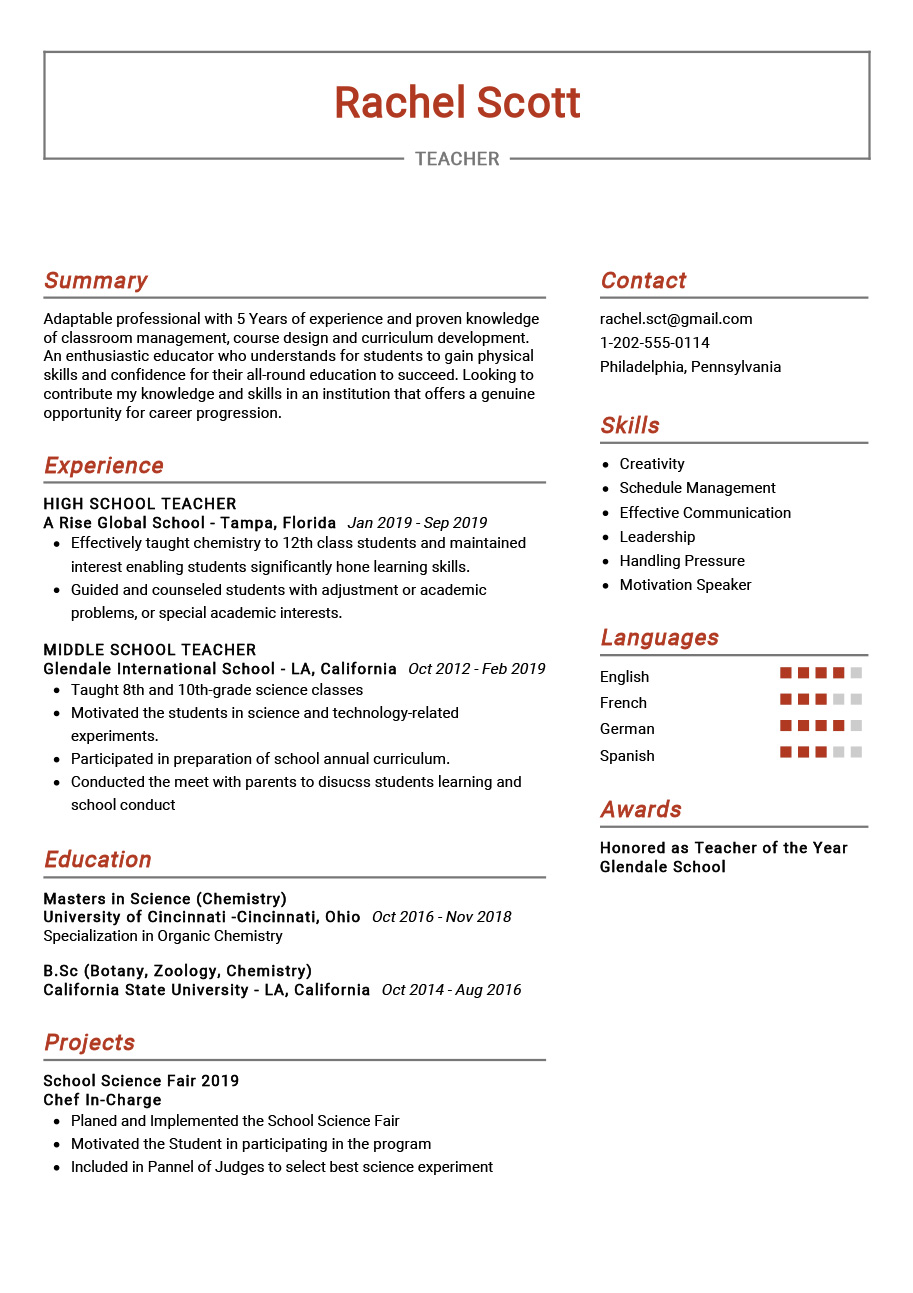 teacher resume example sample resumekraft resumes for teachers cardiac sonographer Resume Resumes For Teachers Com