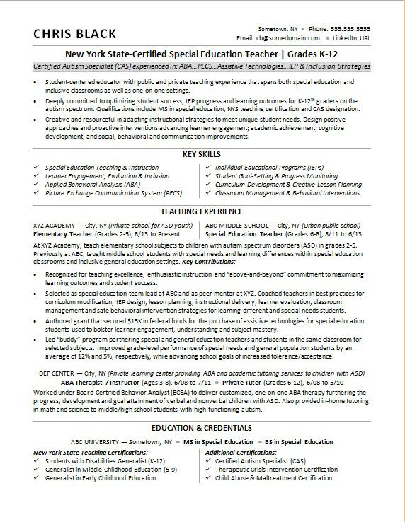 teacher resume sample monster special education for army soldier general labor objective Resume Sample Special Education Teacher Resume