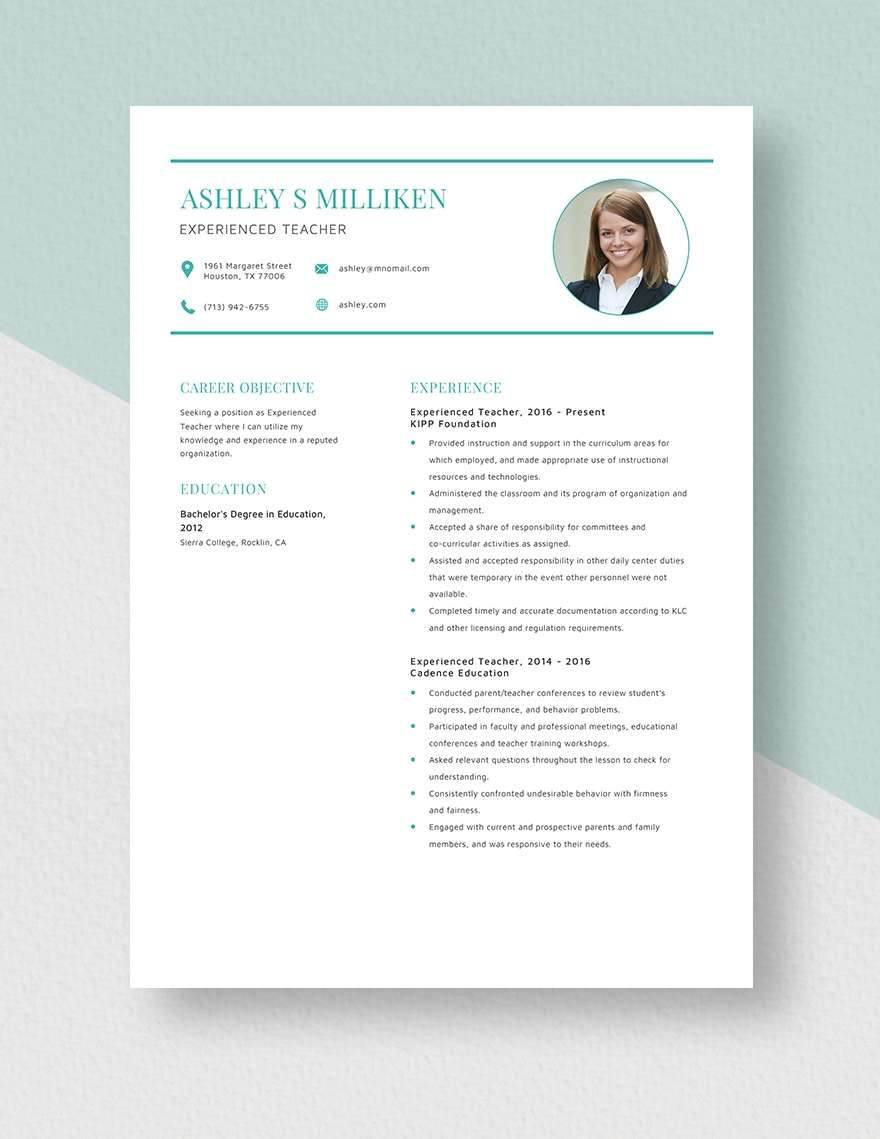 teacher resume template samples formats primary school word format experienced microsoft Resume Primary School Teacher Resume Word Format