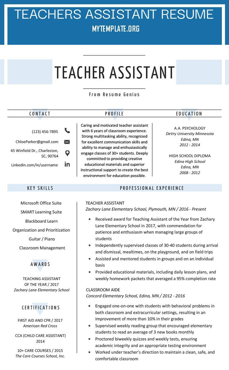 teachers assistant resume free templates teacher of sample amp writing tips pin training Resume Teacher Assistant Resume