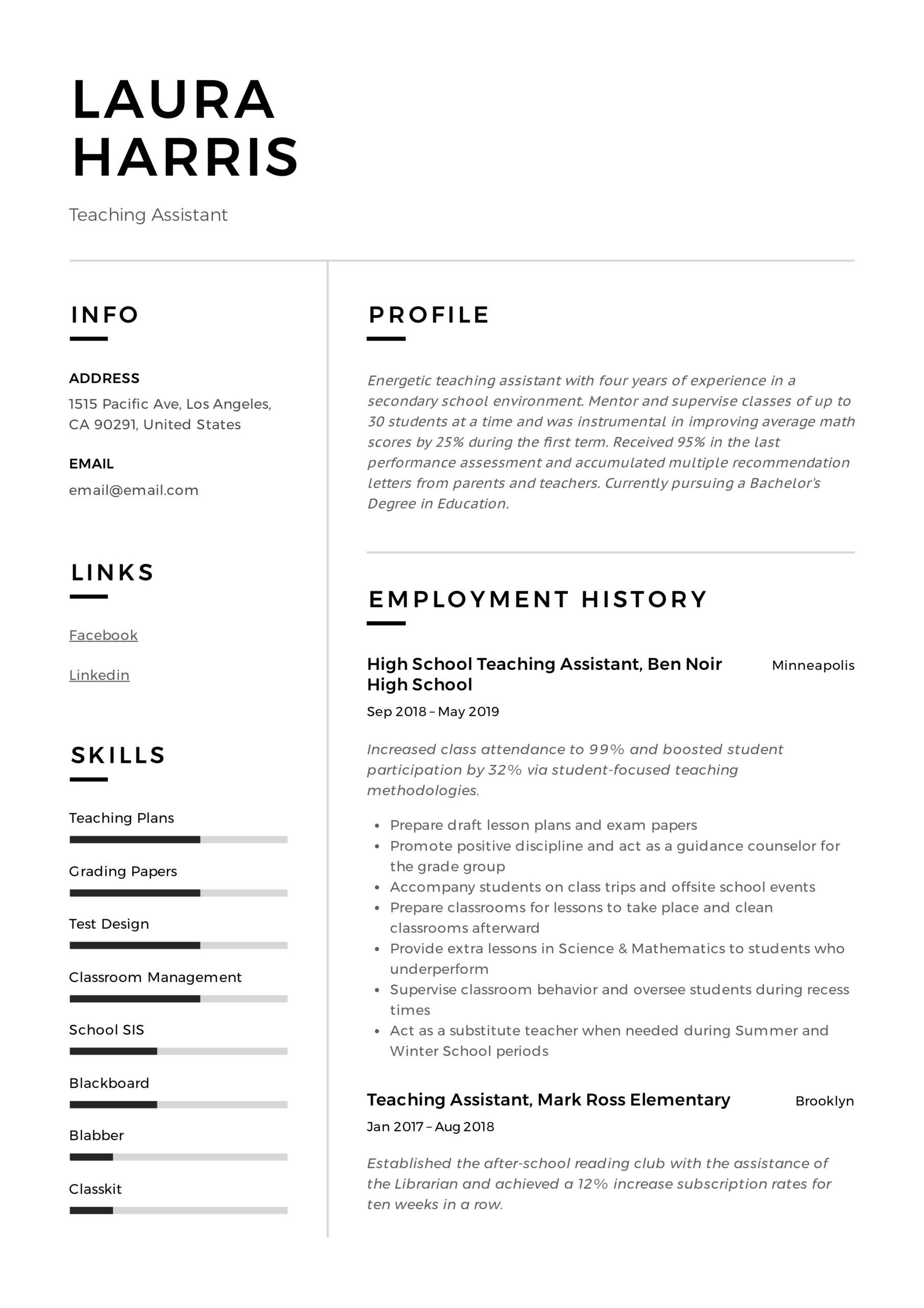 teaching assistant resume writing guide templates pdf teacher template documentation Resume Teacher Assistant Resume