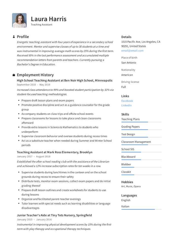 teaching assistant resume writing guide templates pdf teacher template medical student Resume Teacher Assistant Resume