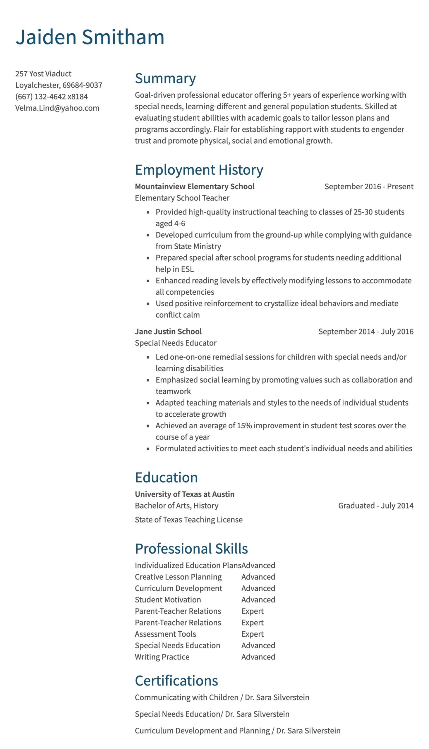 teaching resume sample special education teacher years of exp customer service Resume Sample Special Education Teacher Resume