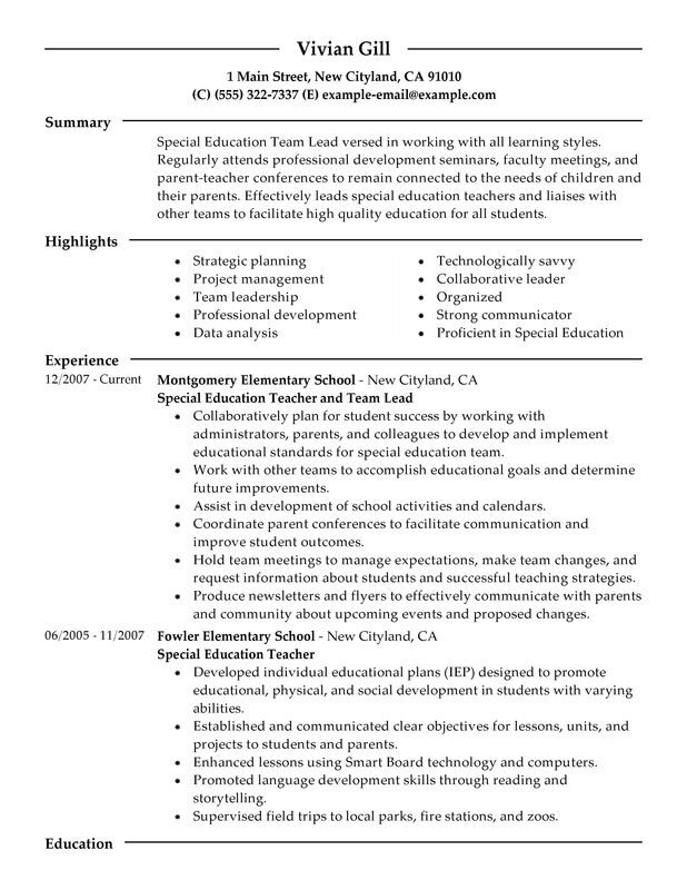 team lead resume examples free to try today myperfectresume sample special education Resume Sample Special Education Teacher Resume