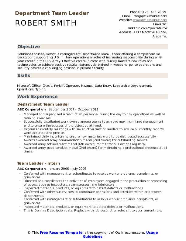 team leader resume samples qwikresume for leadership position pdf dos and don ts Resume Resume For Leadership Position