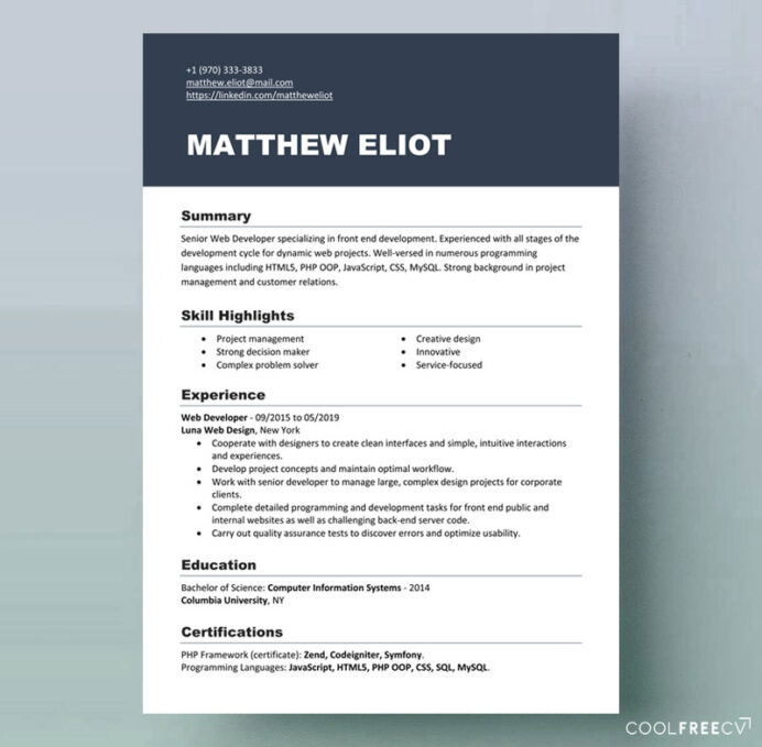 technical resume examples example of cv for industrial attachment front end developer Resume Job Resume Examples 2020