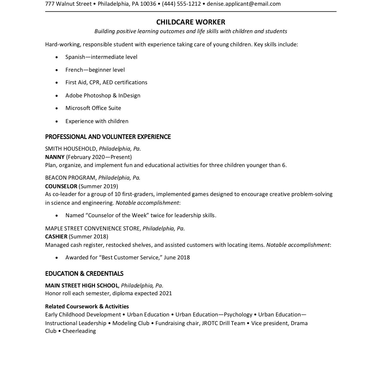teen resume examples with writing tips for part time job college student depaul Resume Resume For Part Time Job College Student