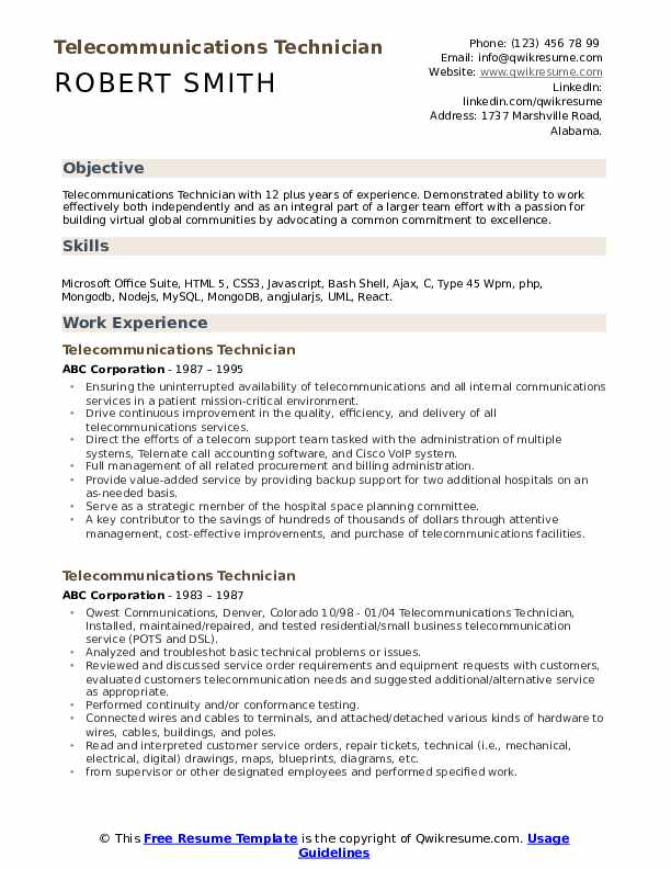 telecommunications technician resume samples qwikresume pdf courses for truly free Resume Telecommunications Resume