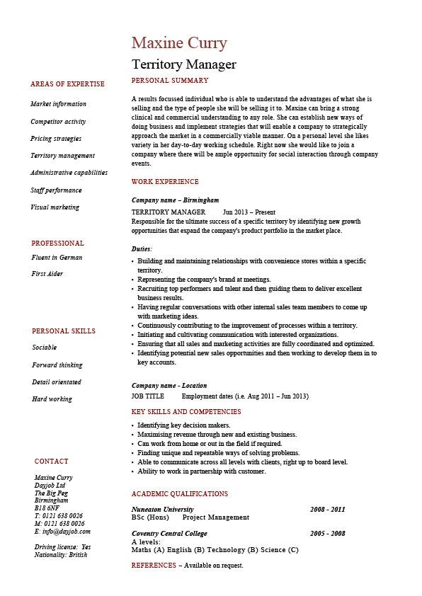 territory manager resume regional job description sample example template marketing Resume Sample Resume Duties And Responsibilities