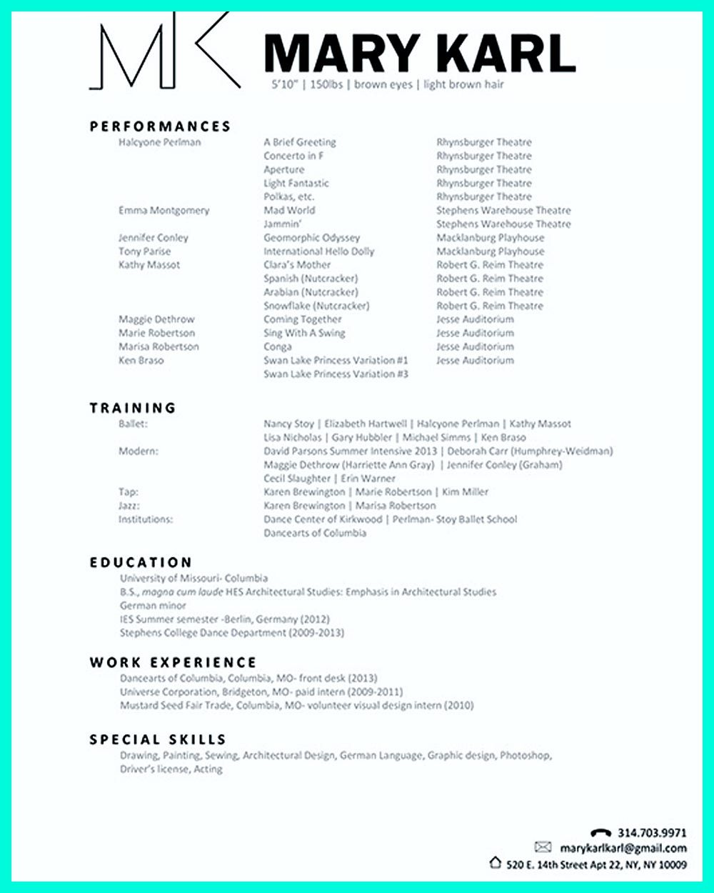 the best and impressive dance resume examples collections careers child for audition Resume Child Dance Resume For Audition