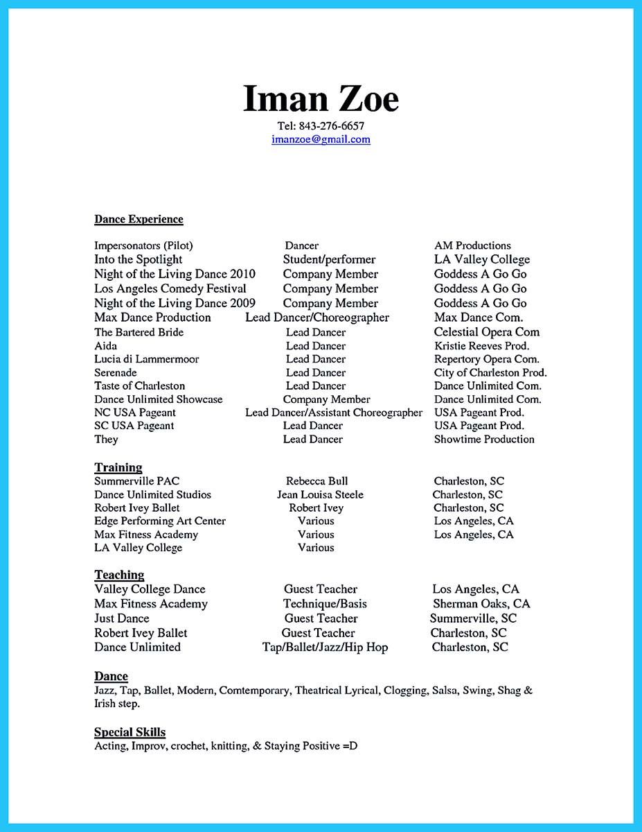 the best and impressive dance resume examples collections child for audition skills of Resume Child Dance Resume For Audition
