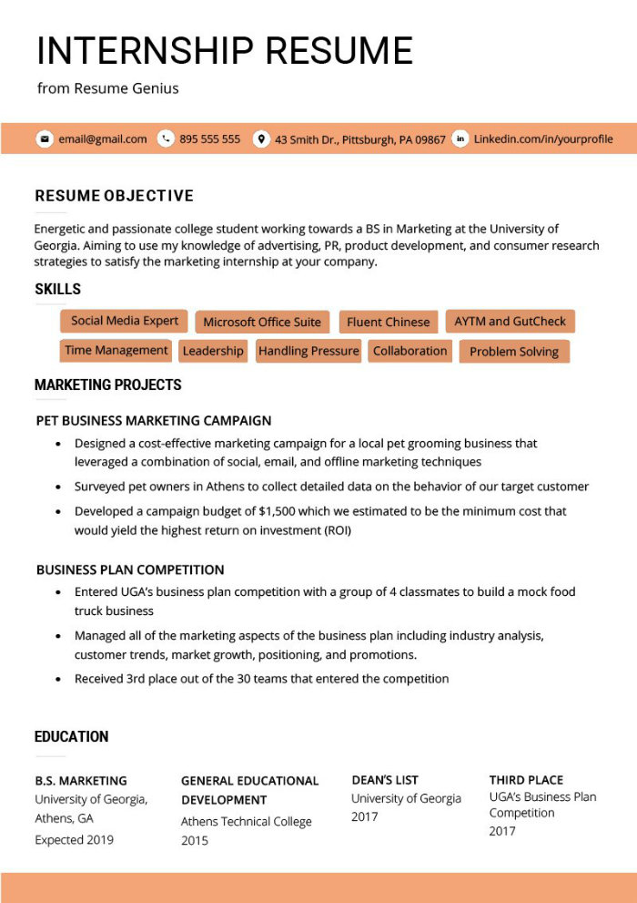 the best cv and résumé examples for your inspiration graduate resume example internship Resume Graduate Resume Example