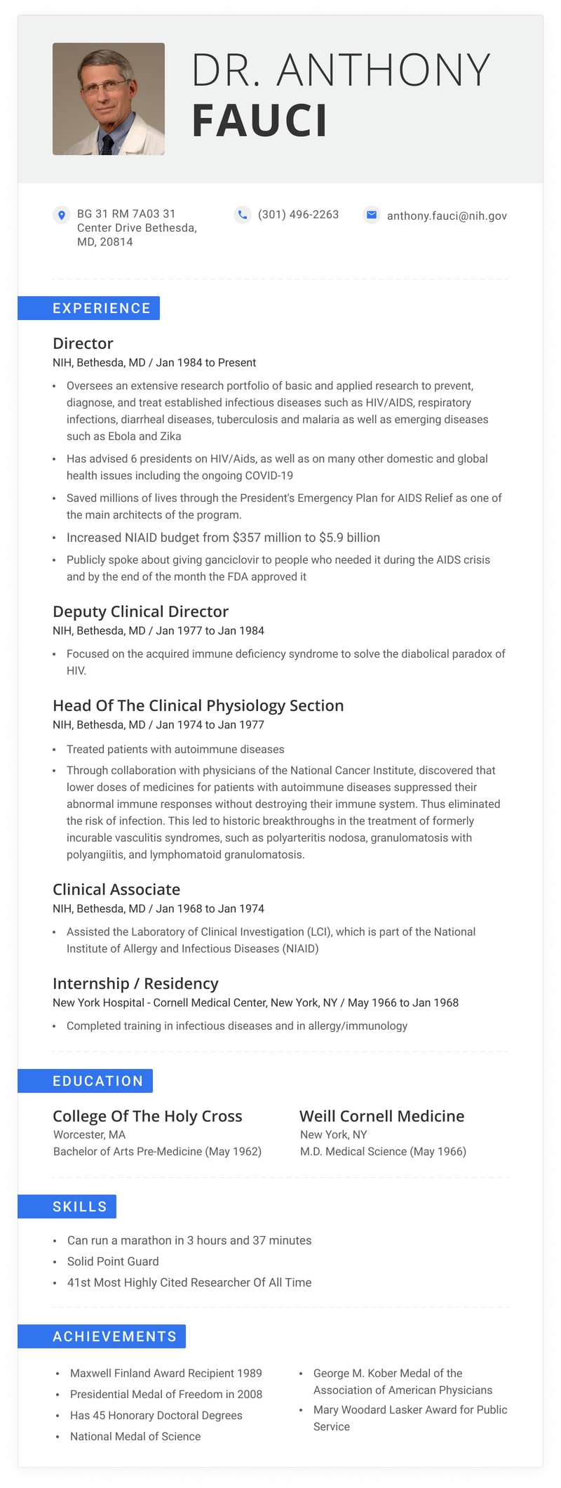the impressive resume of dr anthony fauci years achievement zippia accomplishments for Resume Accomplishments For Resume