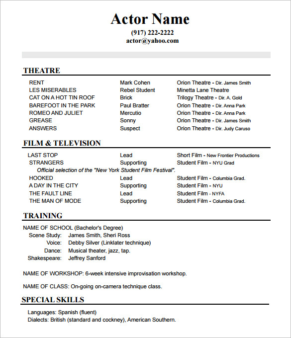 the perfect actors resume beginner actor template acting no experience modeling with Resume Beginner Actor Resume Template
