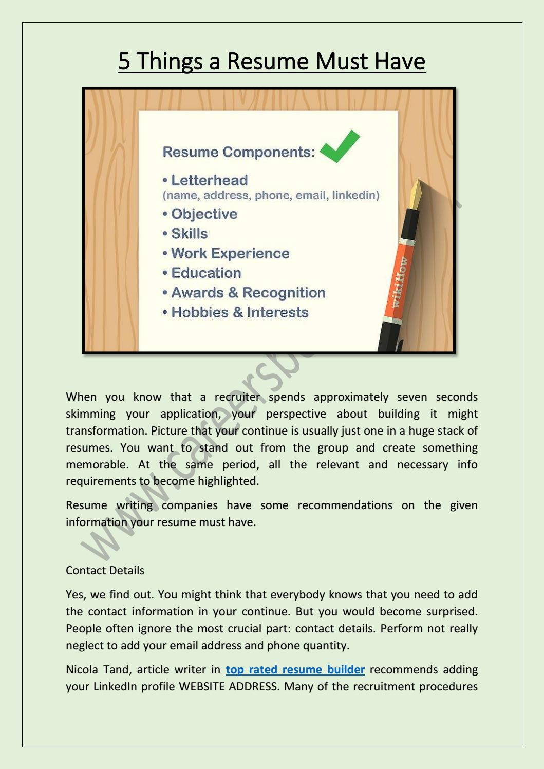 things resume must have by careersboosters1 issuu rbt examples sample administrative Resume Things A Resume Must Have