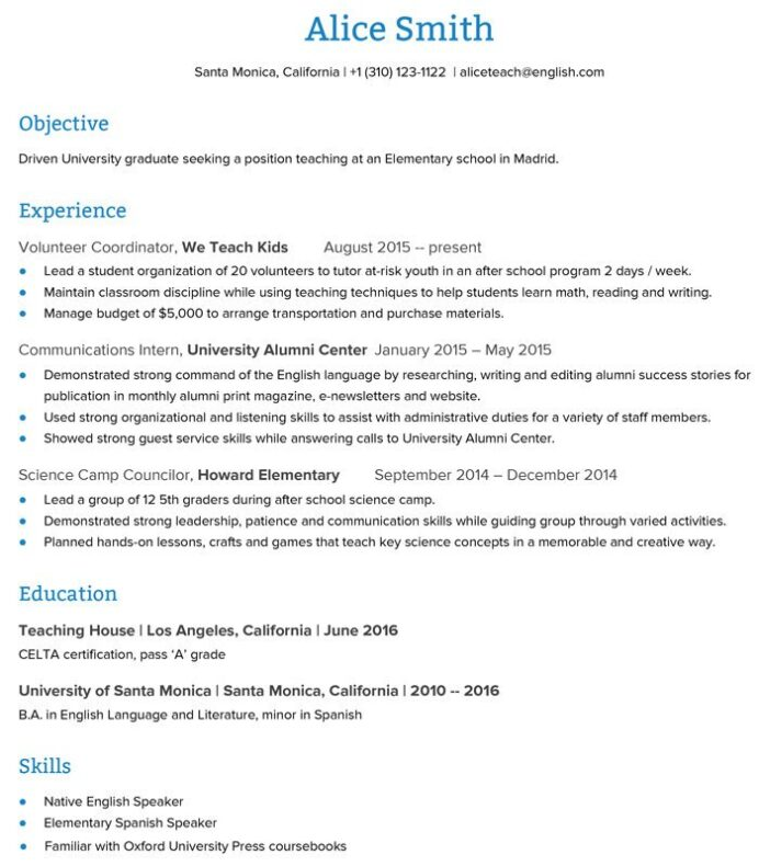to create an esl teacher resume that get you the job go overseas elementary objective Resume Elementary Teacher Resume Objective Examples