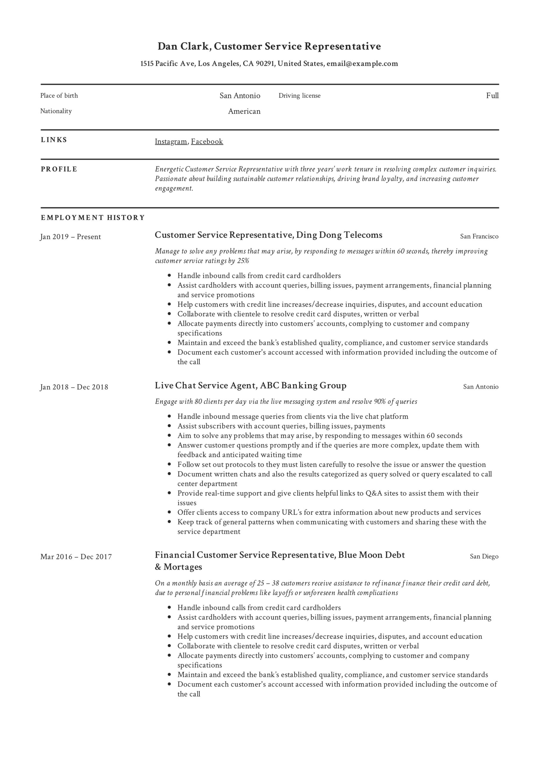 to customer service representative resume pdf samples format for professional experience Resume Resume Format For Customer Service