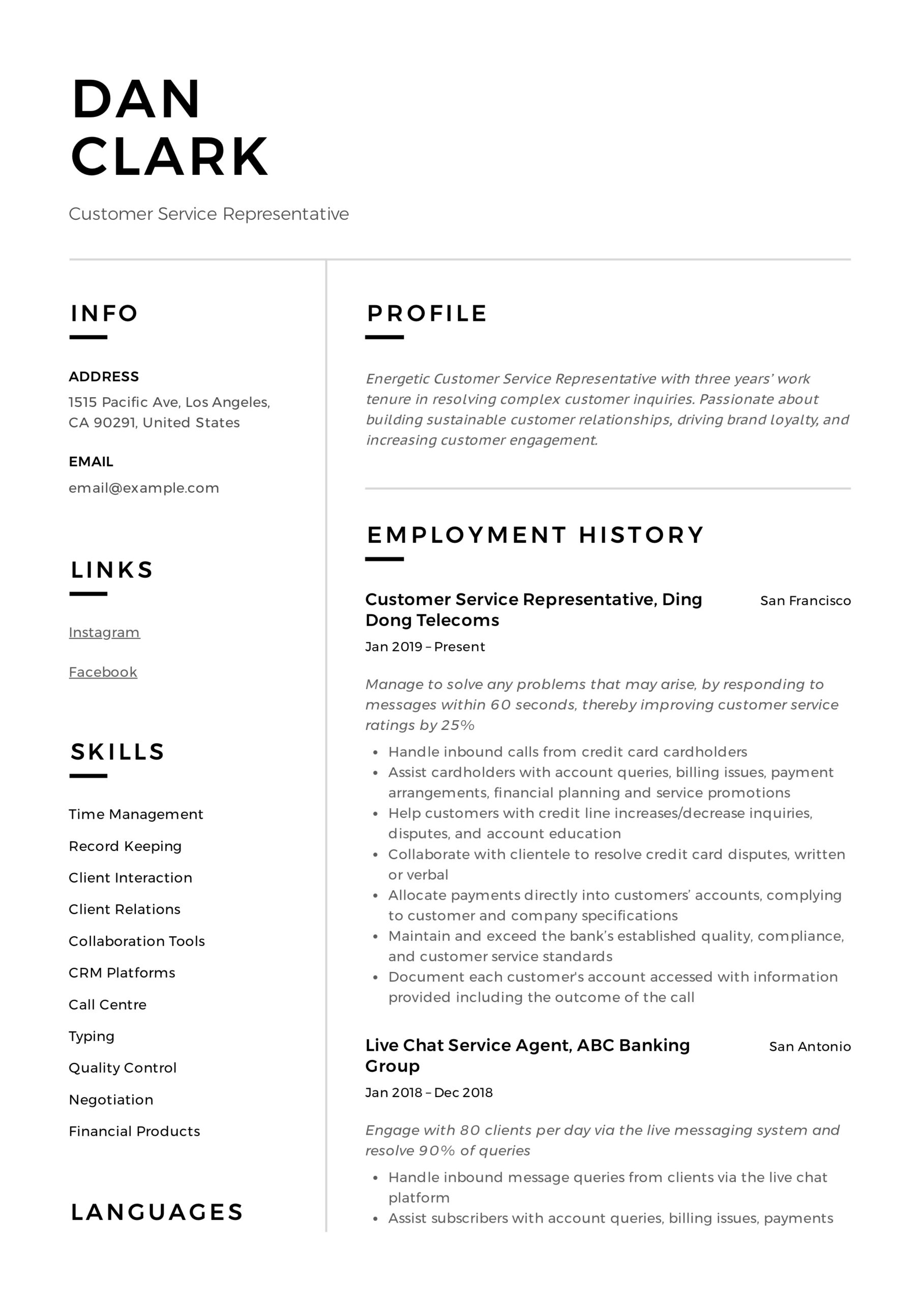 to customer service representative resume pdf samples specialist personal highlights on Resume Customer Service Specialist Resume