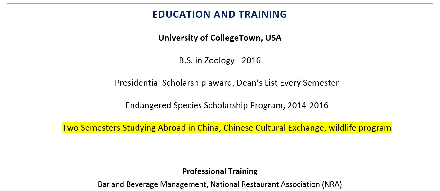 to include study abroad experience on resume examples example including indeed leed ap Resume Resume Study Abroad Example