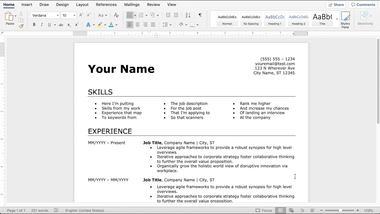 to make an easy resume in microsoft word independent consultant pool attendant format for Resume To Make A Resume