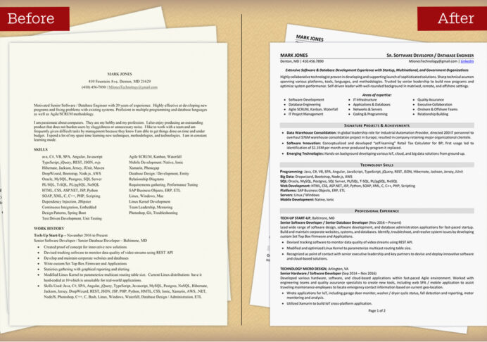 to update your resume and get hired recruiter asking for updated new compare before after Resume Recruiter Asking For Updated Resume