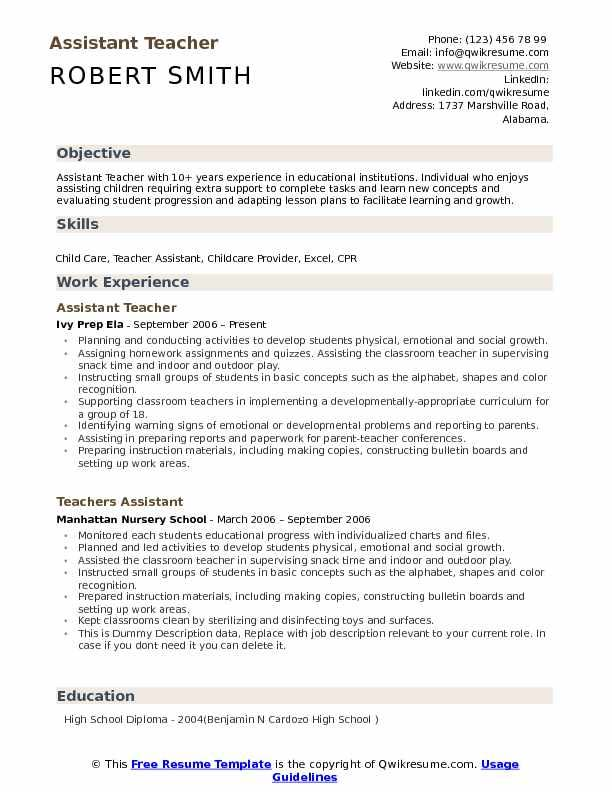 to write an excellent teacher assistant resume objective example3 second job examples Resume Teacher Assistant Resume Objective