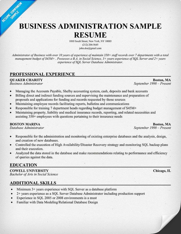 to write business administration resume resumecompanion examples professional samples Resume Bachelor Of Business Administration Resume Sample