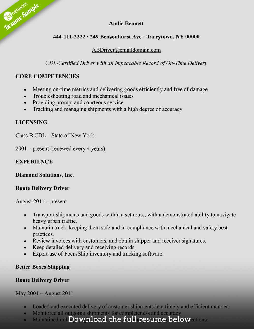 to write delivery driver resume with examples the jobnetwork for job freight and packages Resume Resume For Driver Job