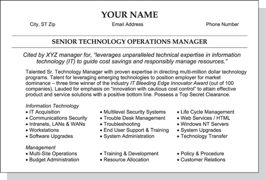 to write the summary section of your resume dummies objective image0 program management Resume Objective Section Of Resume