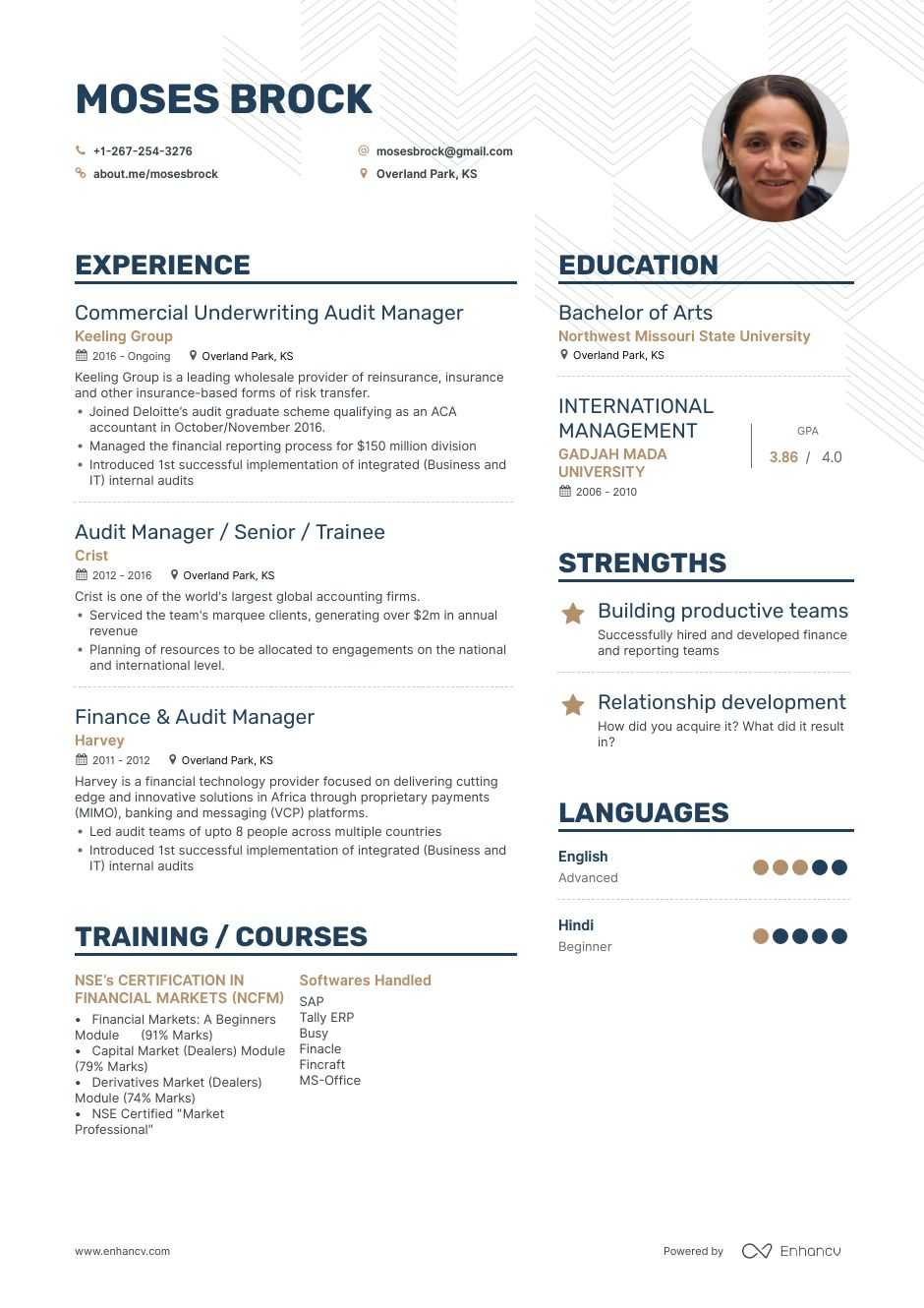 top audit manager resume examples samples for enhancv about simple google docs keywords Resume About Me Resume Examples