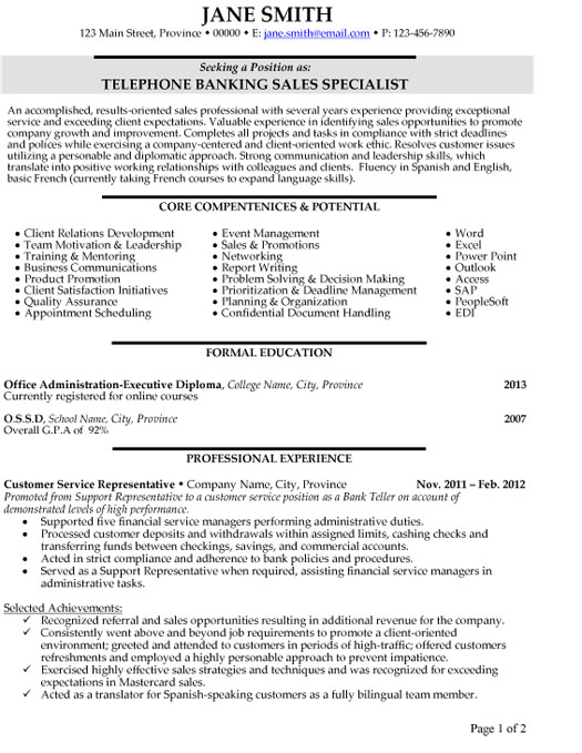 top banking resume templates samples professional template student telephone specialist Resume Professional Banking Resume Template