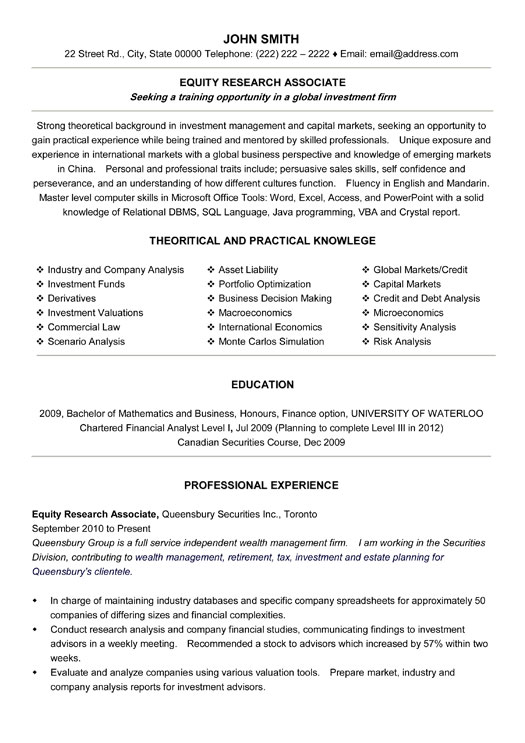top banking resume templates samples research executive student equity associate sample Resume Research Executive Resume