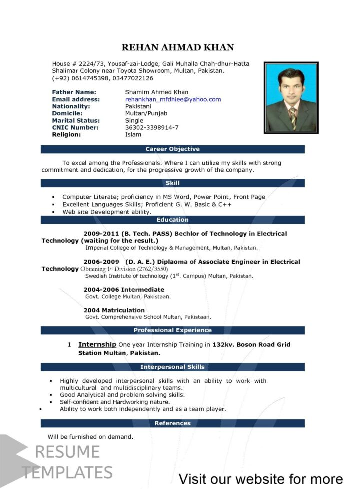 top best resume formats and examples format for job interview table personal marketing Resume Personal Marketing Resume