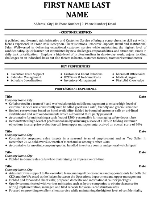 top customer service resume templates samples targeted template sample for bakery job Resume Targeted Resume Template
