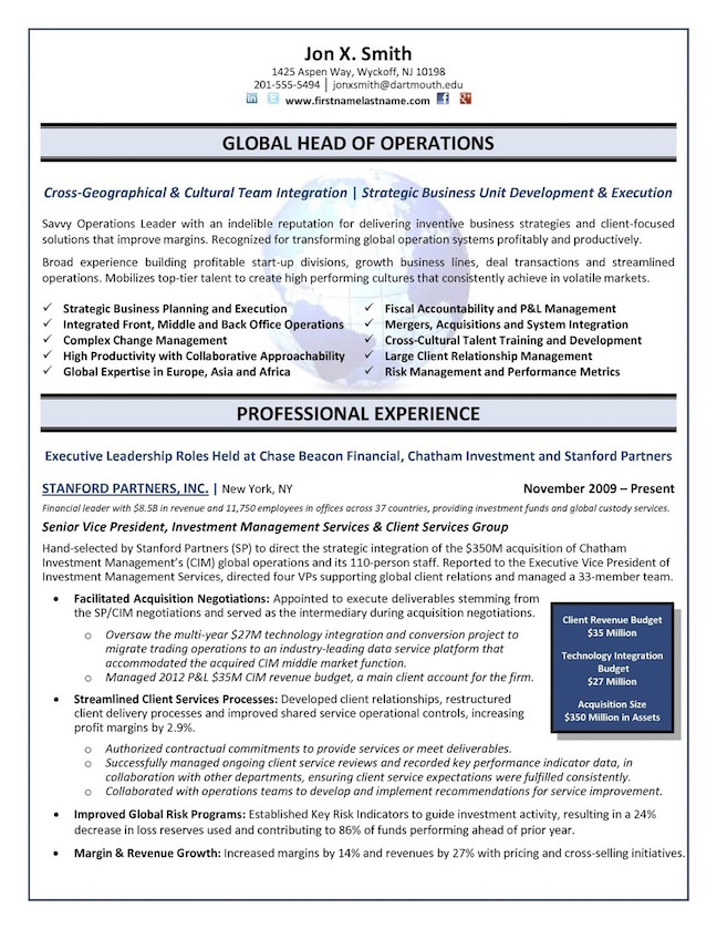top executive resume writing examples senior level high format chief operations officer Resume High Level Resume Format