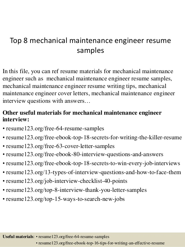 top mechanical maintenance engineer resume samples format for administration job nursing Resume Maintenance Engineer Resume