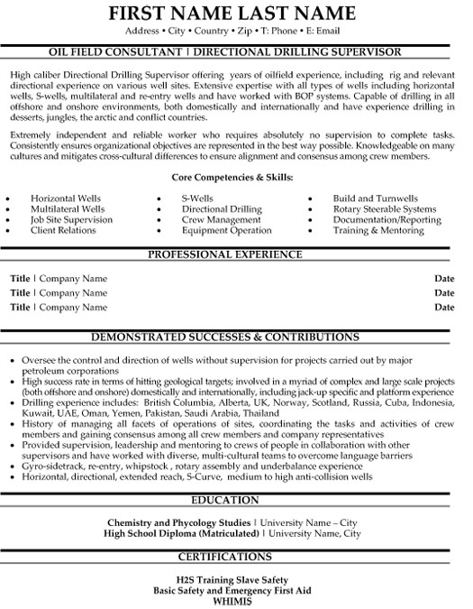 top oil gas resume templates samples and examples og directional drilling supervisor free Resume Oil & Gas Resume Samples